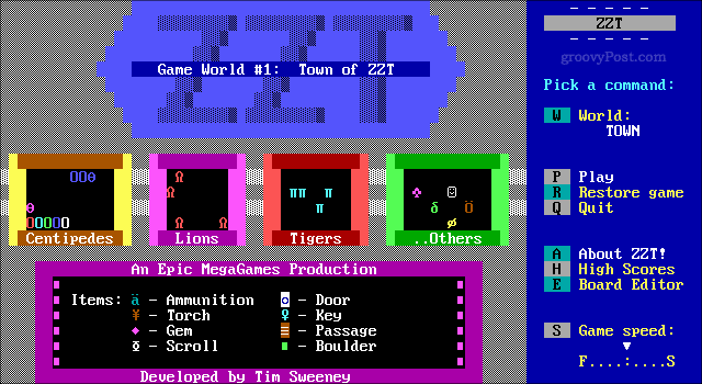 A screenshot of ZZT for MS-Dos