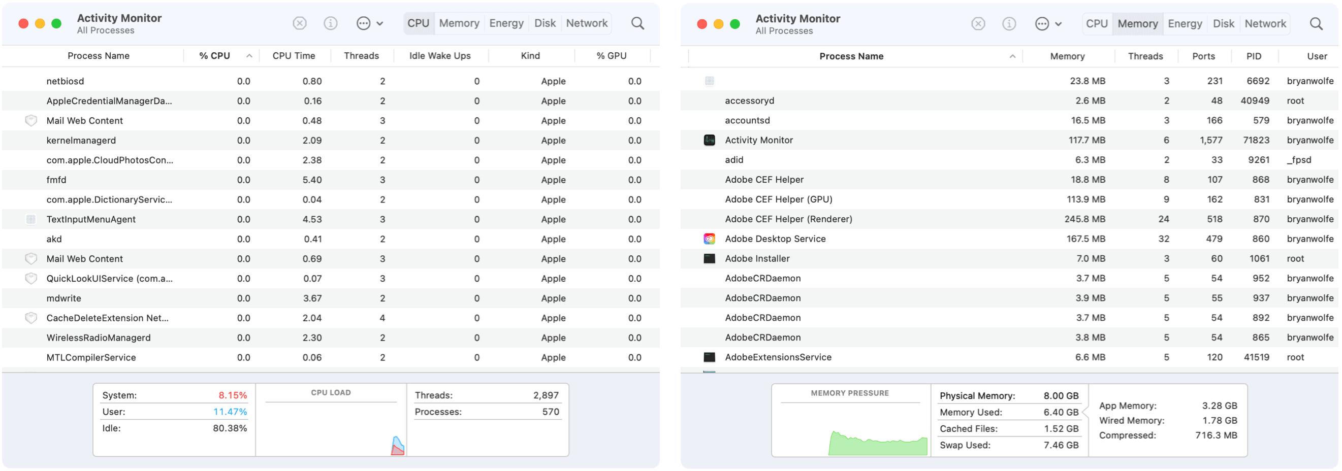 Activity Monitor CPU and Memory