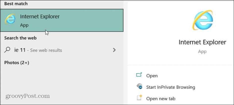 ie 11 start windows 10