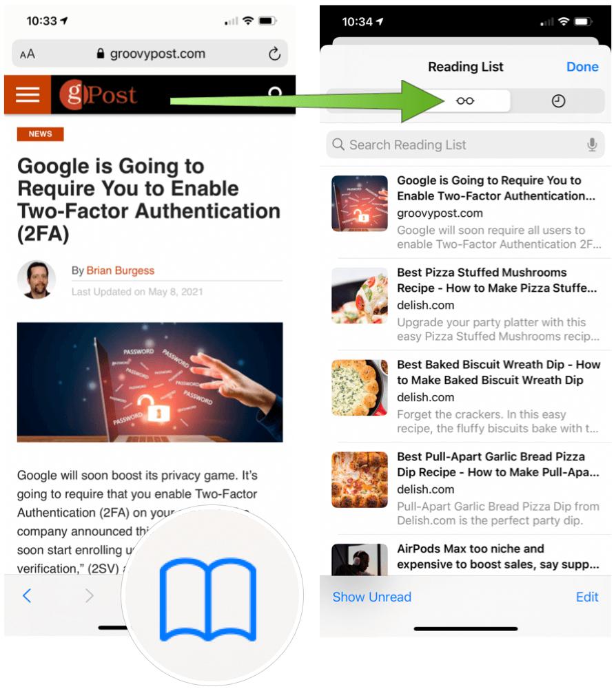 iPhone reading list