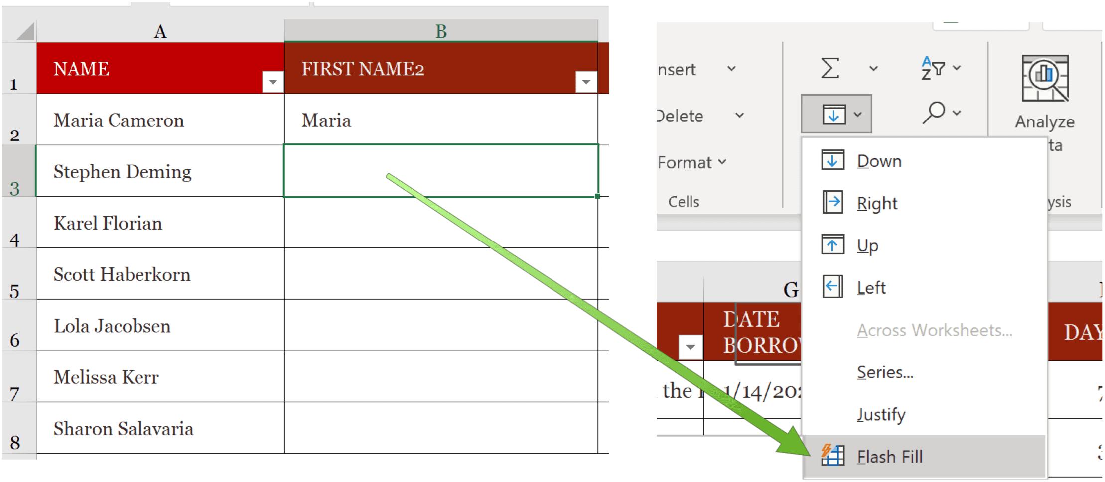 Microsoft Excel Flash Fill