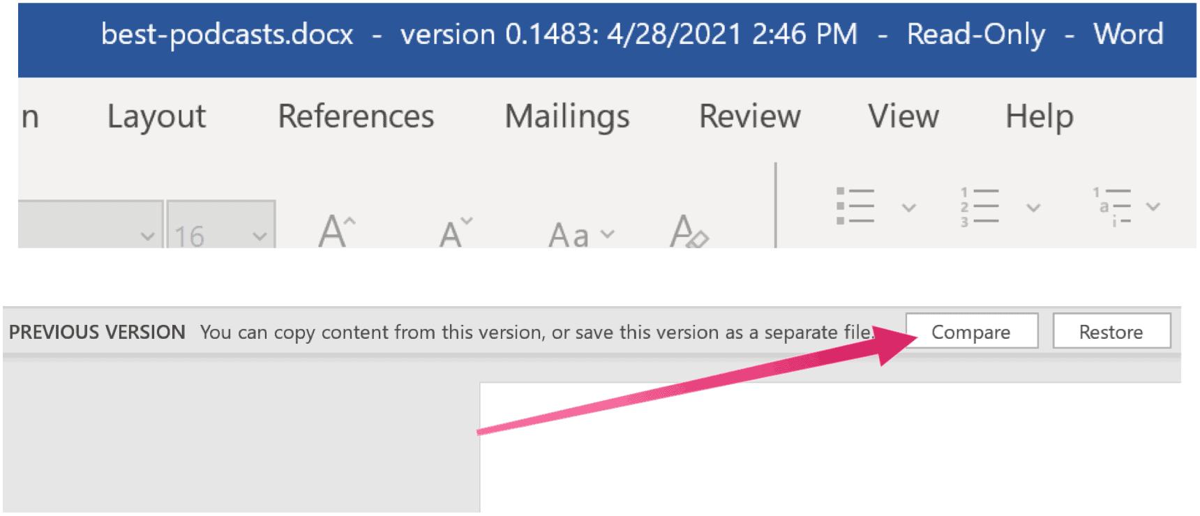 Microsoft Word compare versions