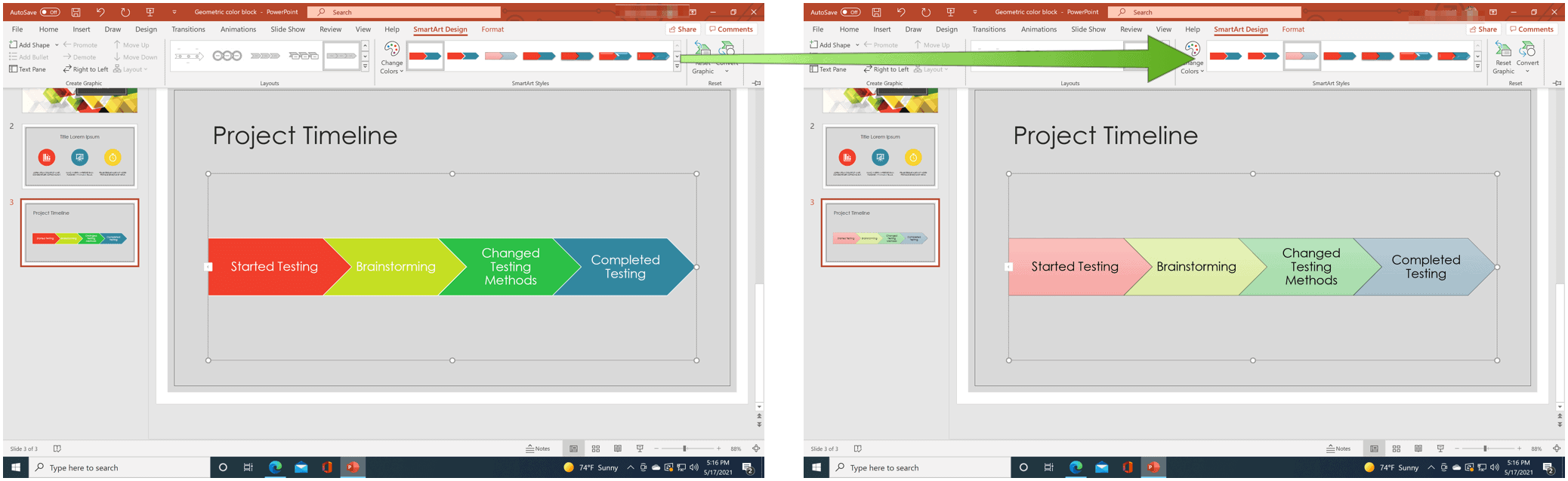 PowerPoint change style