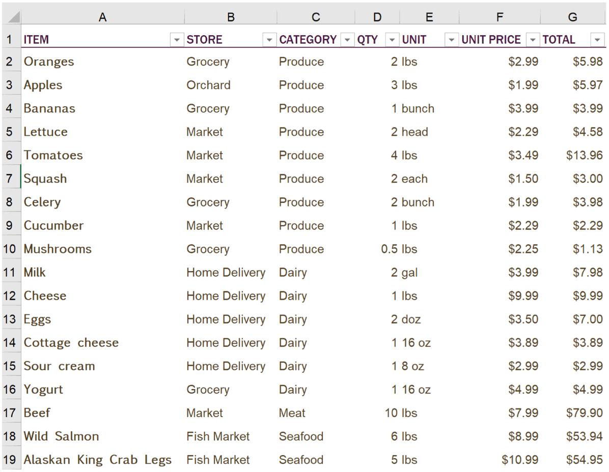 Sample Excel