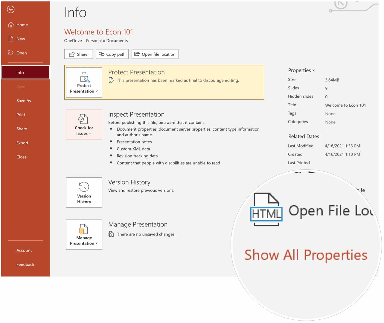 PowerPoint Presentation Word Count on Windows
