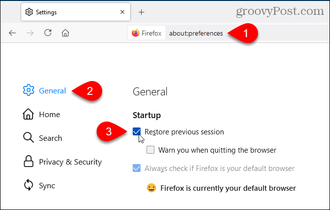 In Firefox, select Restore previous session