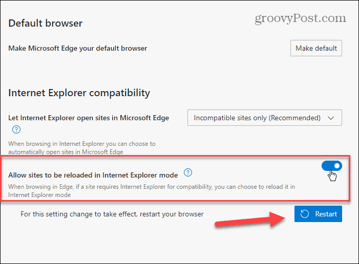 allow sites to reload in IE Mode