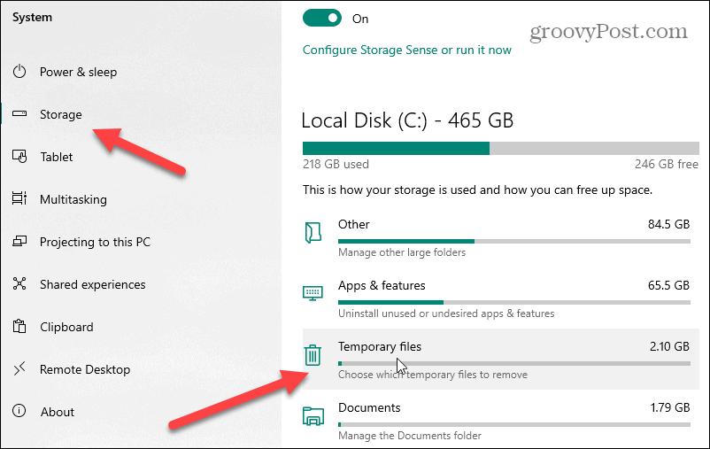 system storage temp files