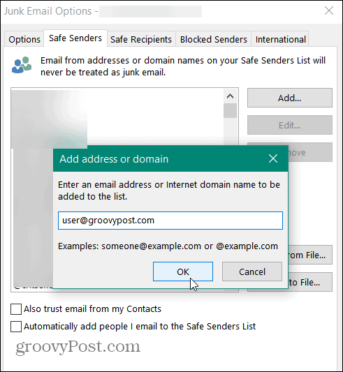 add safe sender directly outlook