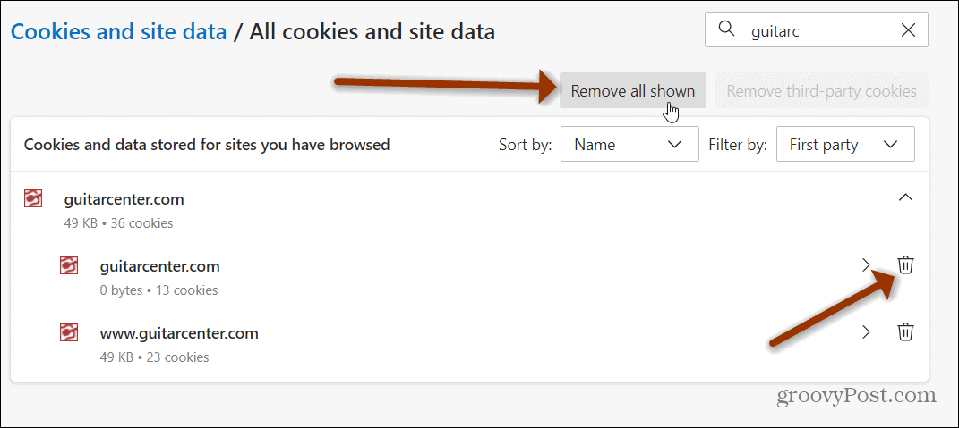 remove all cookies shown edge