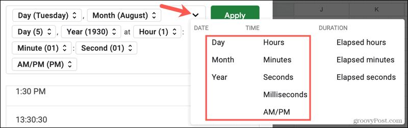 Add an element for date and time