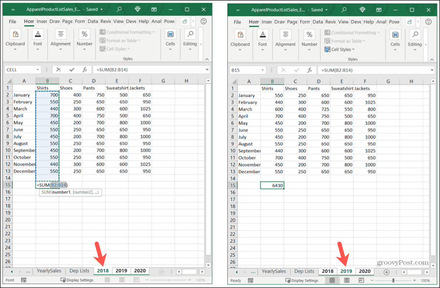 Add a Formula to Grouped Sheets