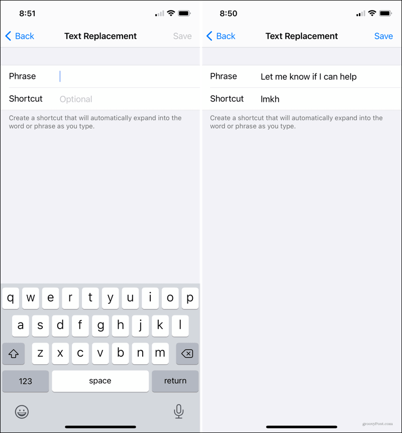 Add your Phrase and Shortcut