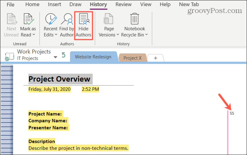 Show Author Edits in OneNote