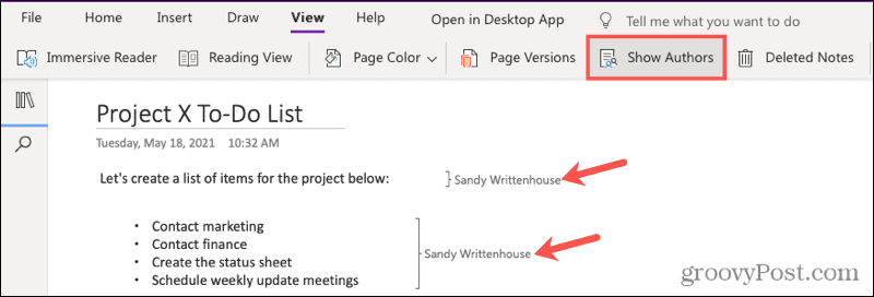 Show Author Edits in OneNote for the web