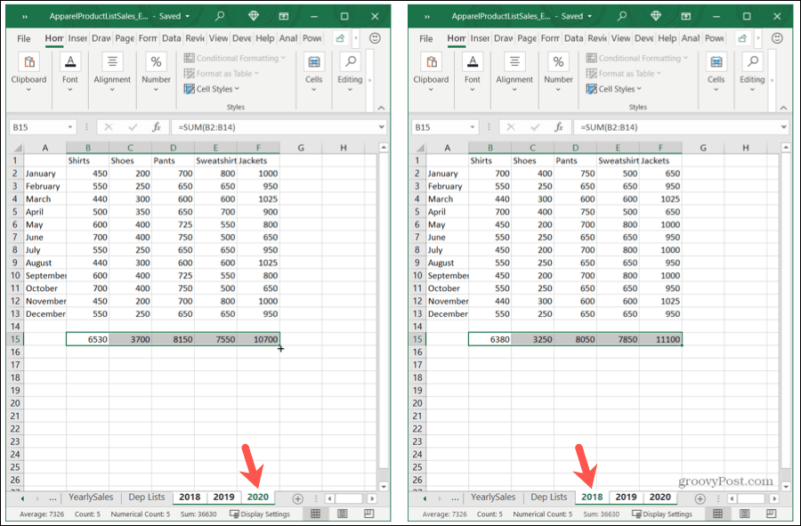 Copy a Formula to Grouped Sheets