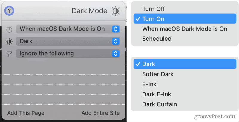 Dark Mode for Safari extension