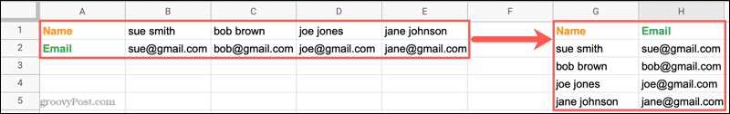 Transposed rows to columns in Google Sheets