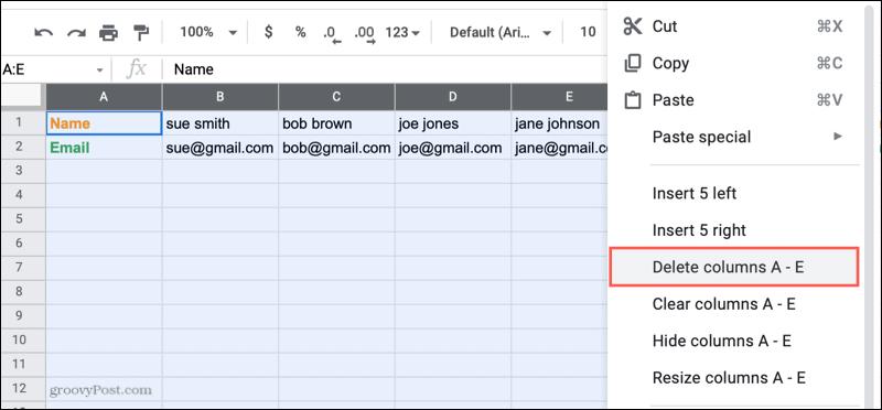 Delete columns in Google Sheets