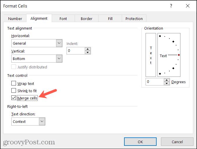Format Cells window, Merge