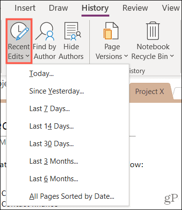 View Edit history in OneNote