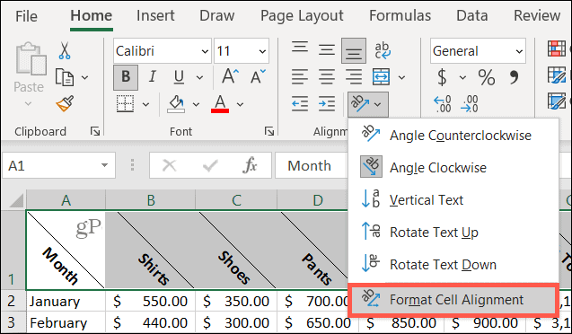Choose Orientation, Format Cell Alignment