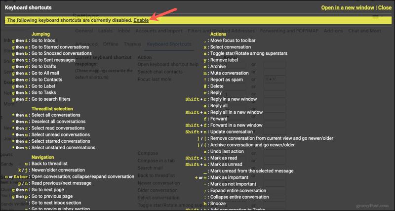 Enable more keyboard shortcuts