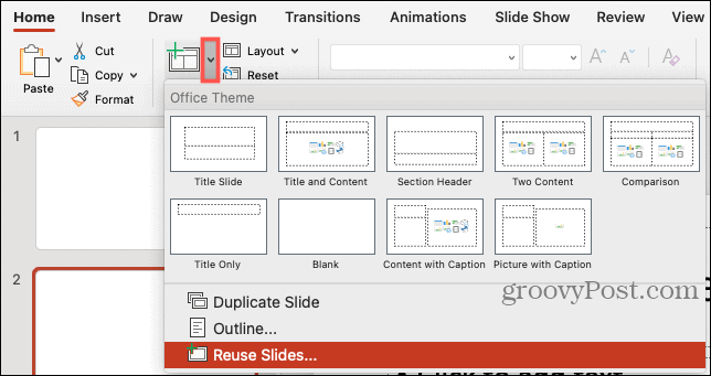 New Slide, Reuse Slides in PowerPoint on Mac