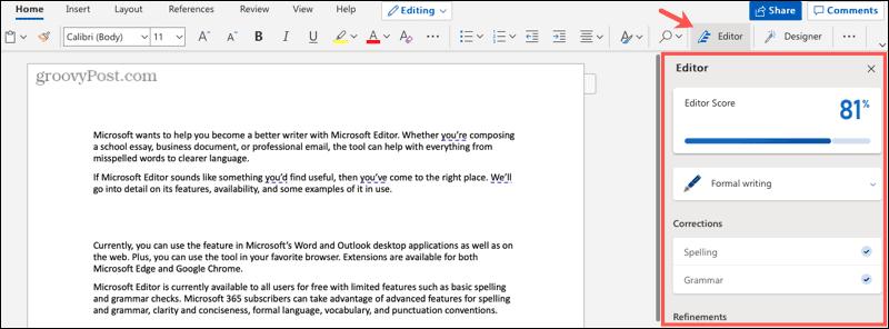 Microsoft Editor in Word on the web