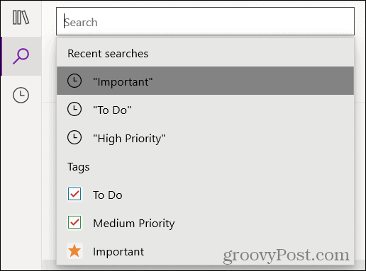 Search recent tags