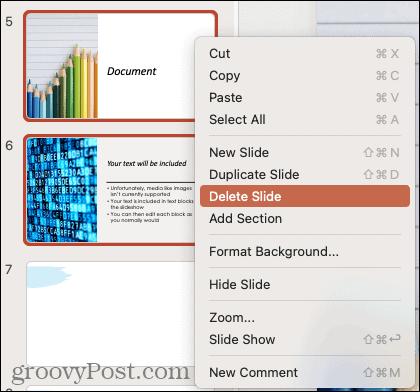 Delete slides