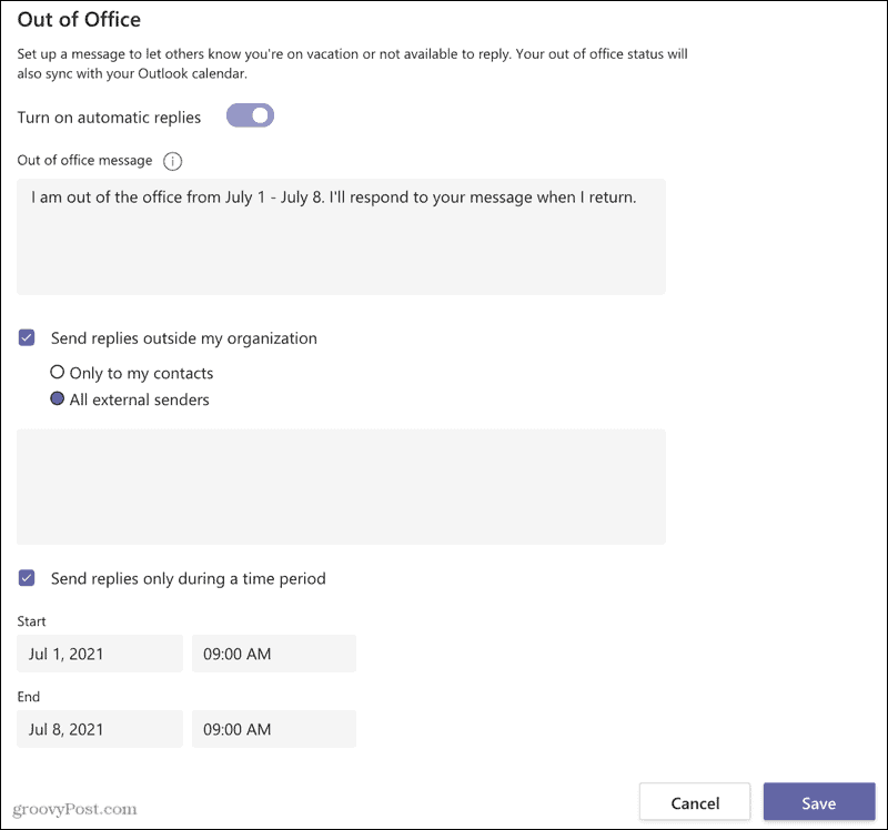 Schedule a Microsoft Teams Out Of Office