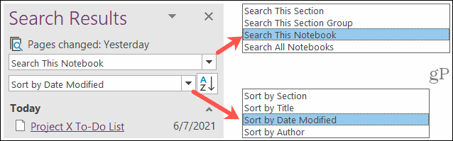 Search and Sort Edit History in OneNote