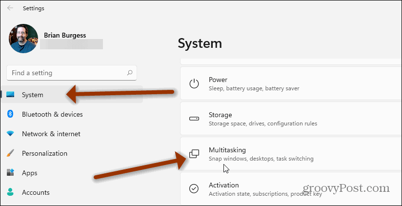 Settings-Multitasking Windows 11