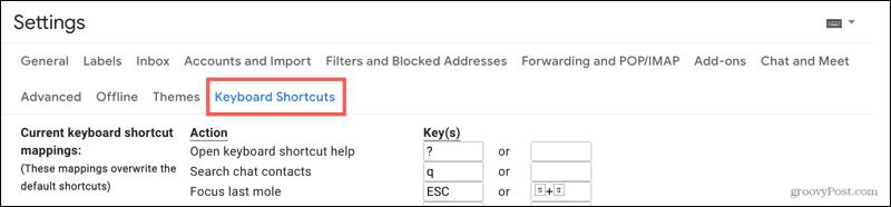 Settings, Keyboard Shortcuts
