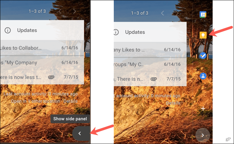 Show the side panel and click Google Keep
