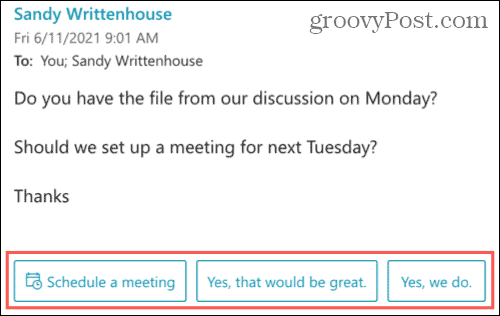 Suggested Replies In Message in Outlook on the Web