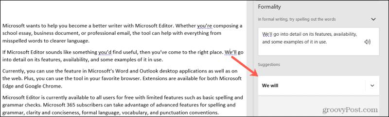 Microsoft Editor suggestion