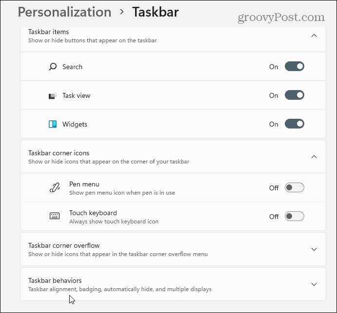 Taskbar Behaviors Settings Windows 11