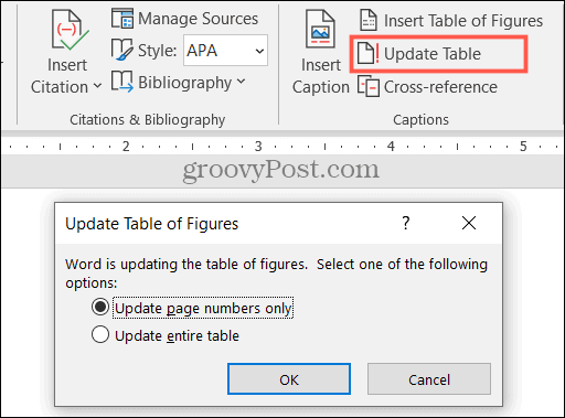 Update a Table of Figures in Word