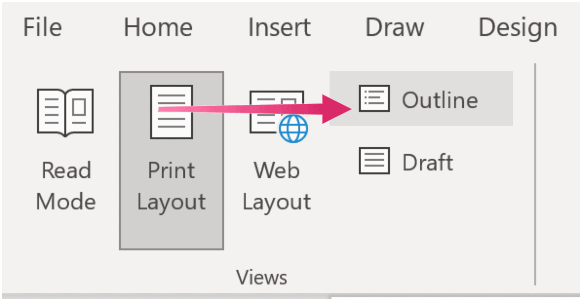 Outline View in MICROSOFT WORD