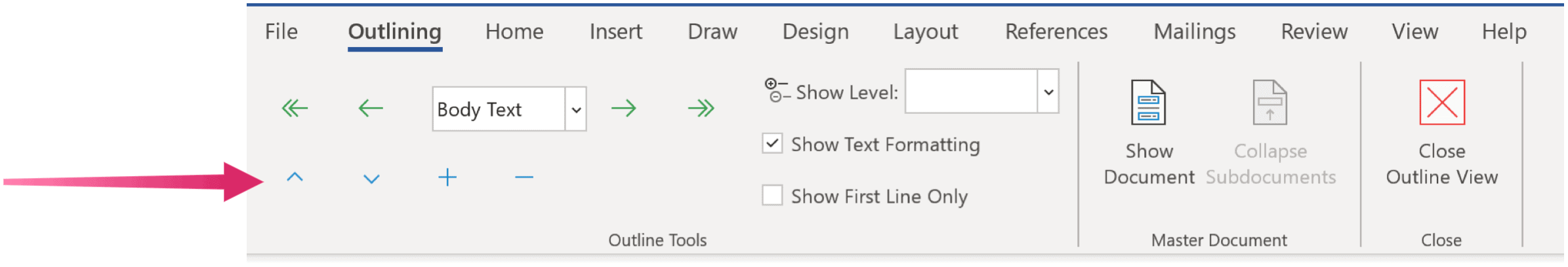 Outline View on Microsoft Word