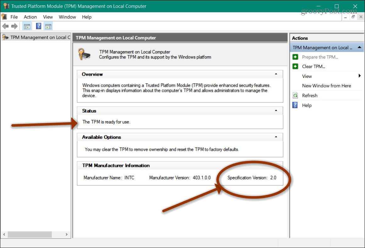trusted platform module management on local computer windows 10
