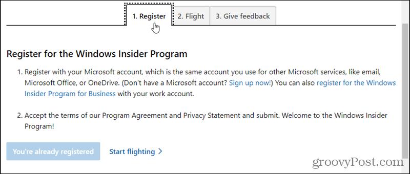 Register for the Windows Insider Program