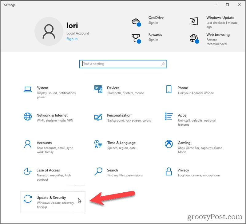 Click Update & Security in Windows 10 Settings