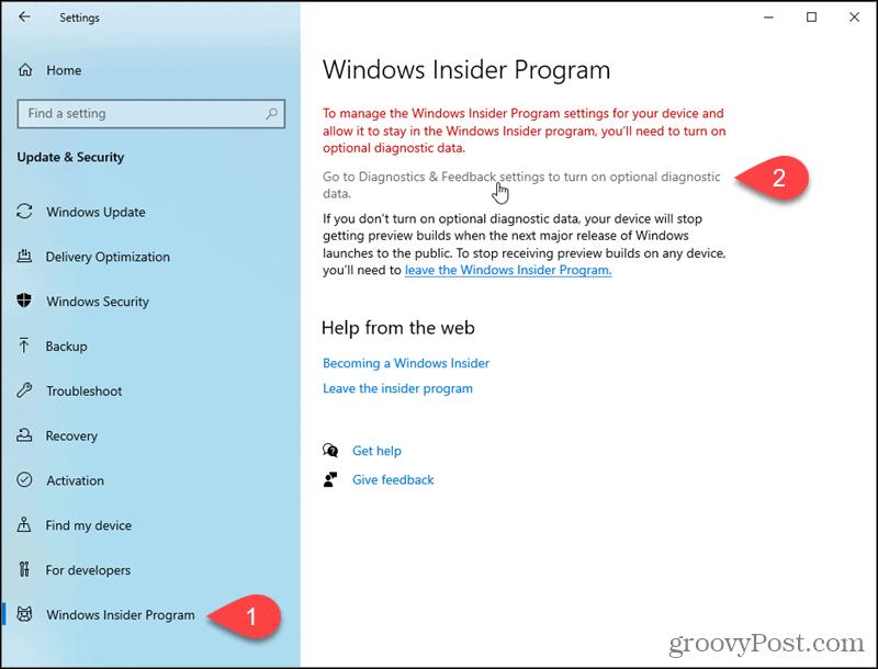 Go to Windows 10 Diagnostics and Feedback settings