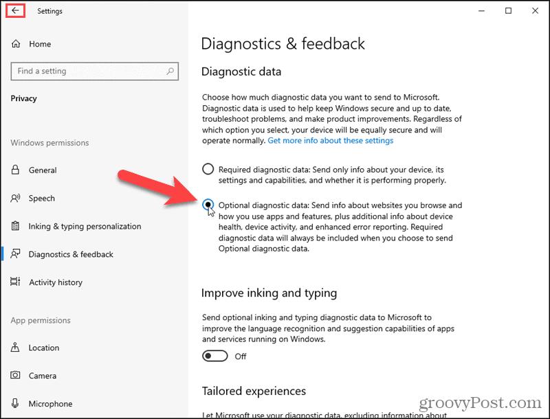 Turn on Windows 10 Optional diagnostic data