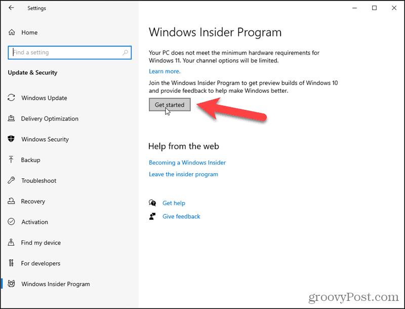 Click Get Started for the Windows Insider Program