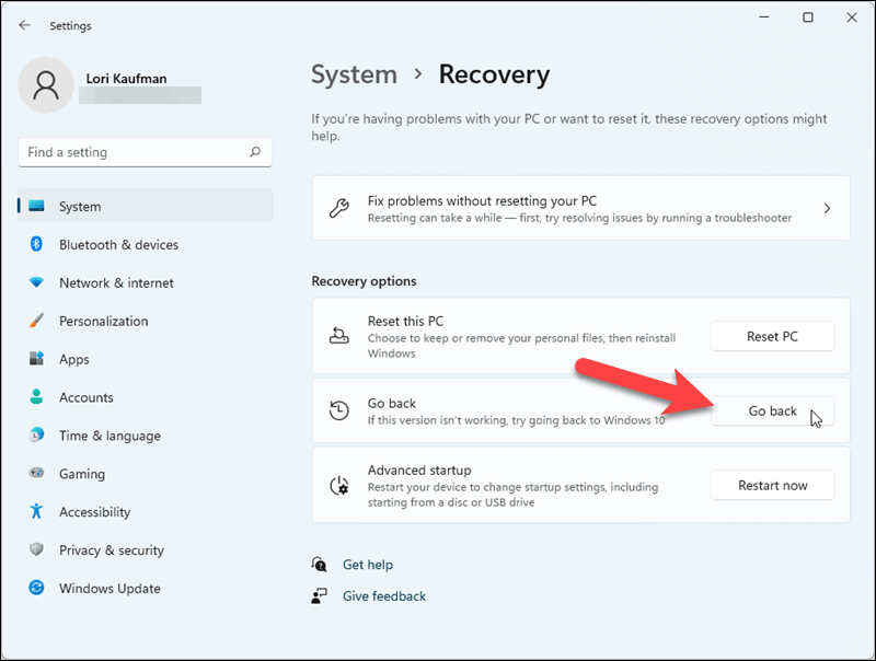 Click Go back on the Recovery screen in Windows 11 Settings