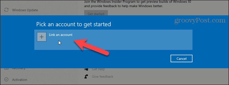 Click Link an account for Windows Insider Program